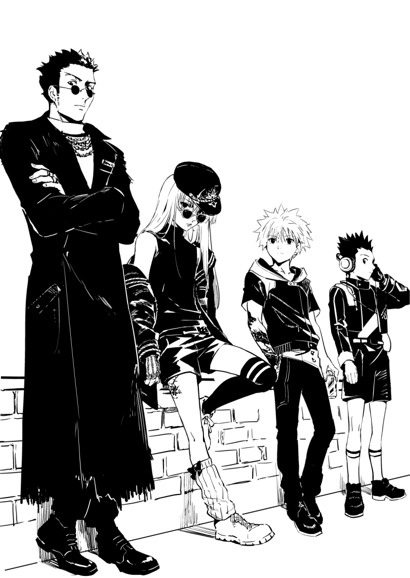 4boys androgynous arm_tattoo arms_at_sides asymmetrical_legwear belt brick_wall cable can chain_necklace closed_mouth coat contrapposto crossed_ankles crossed_arms frown gon_freecss greyscale hand_in_pocket hand_up headphones hunter_x_hunter jacket jewelry karaori killua_zoldyck kurapika leaning_on_object leg_tattoo leg_warmers leorio_paladiknight lineup long_hair long_sleeves looking_at_viewer looking_to_the_side male_focus monochrome multiple_boys off_shoulder open_clothes open_jacket pants profile ring round_eyewear shoes shorts sideburns sideways_glance sideways_hat simple_background single_thighhigh sleeveless sneakers socks soda_can spiky_hair standing standing_on_one_leg sunglasses tattoo thigh-highs torn_coat turtleneck white_background