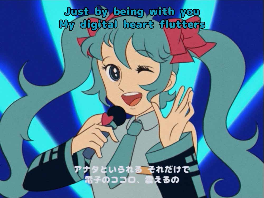 1girl 70s ;d blue_background blue_eyes blue_hair blue_neckwear bow crypton_future_media detached_sleeves fake_screenshot hair_between_eyes hair_bow hatsune_miku holding holding_microphone igarashi_yumiko_(style) jpeg_artifacts microphone necktie oldschool one_eye_closed open_mouth pink_bow smile solo tomatomagica twintails upper_body vocaloid yamaha_(company)