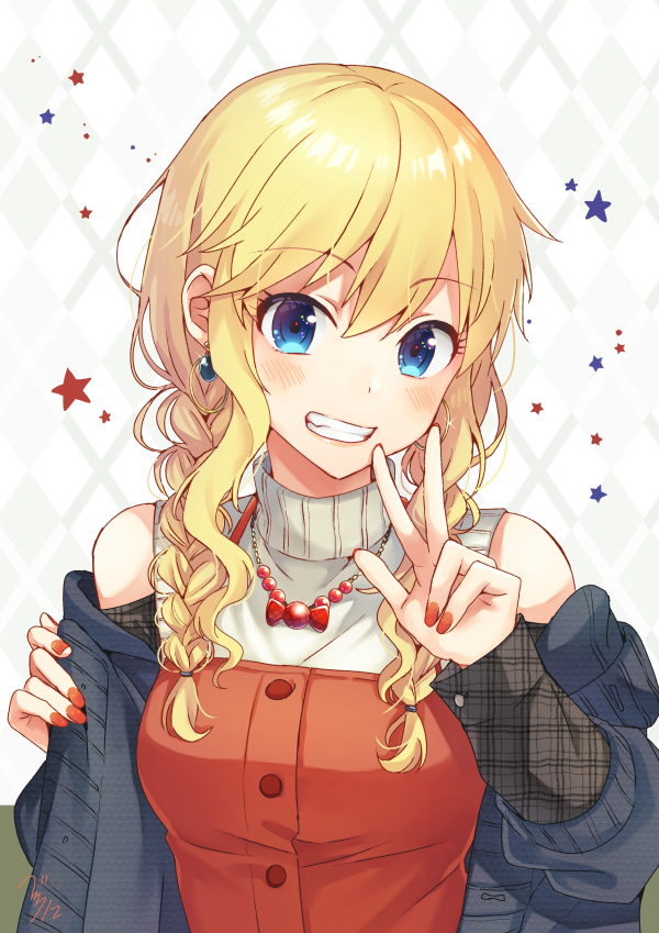 1girl :d argyle argyle_background bangs bare_shoulders bekkourico blonde_hair blue_cardigan blue_eyes blush braid candy cardigan commentary_request earrings eyebrows_visible_through_hair food glint grin hoop_earrings idolmaster idolmaster_cinderella_girls jewelry looking_at_viewer nail_polish necklace off_shoulder ootsuki_yui open_cardigan open_clothes open_mouth pendant red_nails red_shirt shirt sidelocks signature smile solo star tareme teeth twin_braids upper_body v wavy_hair