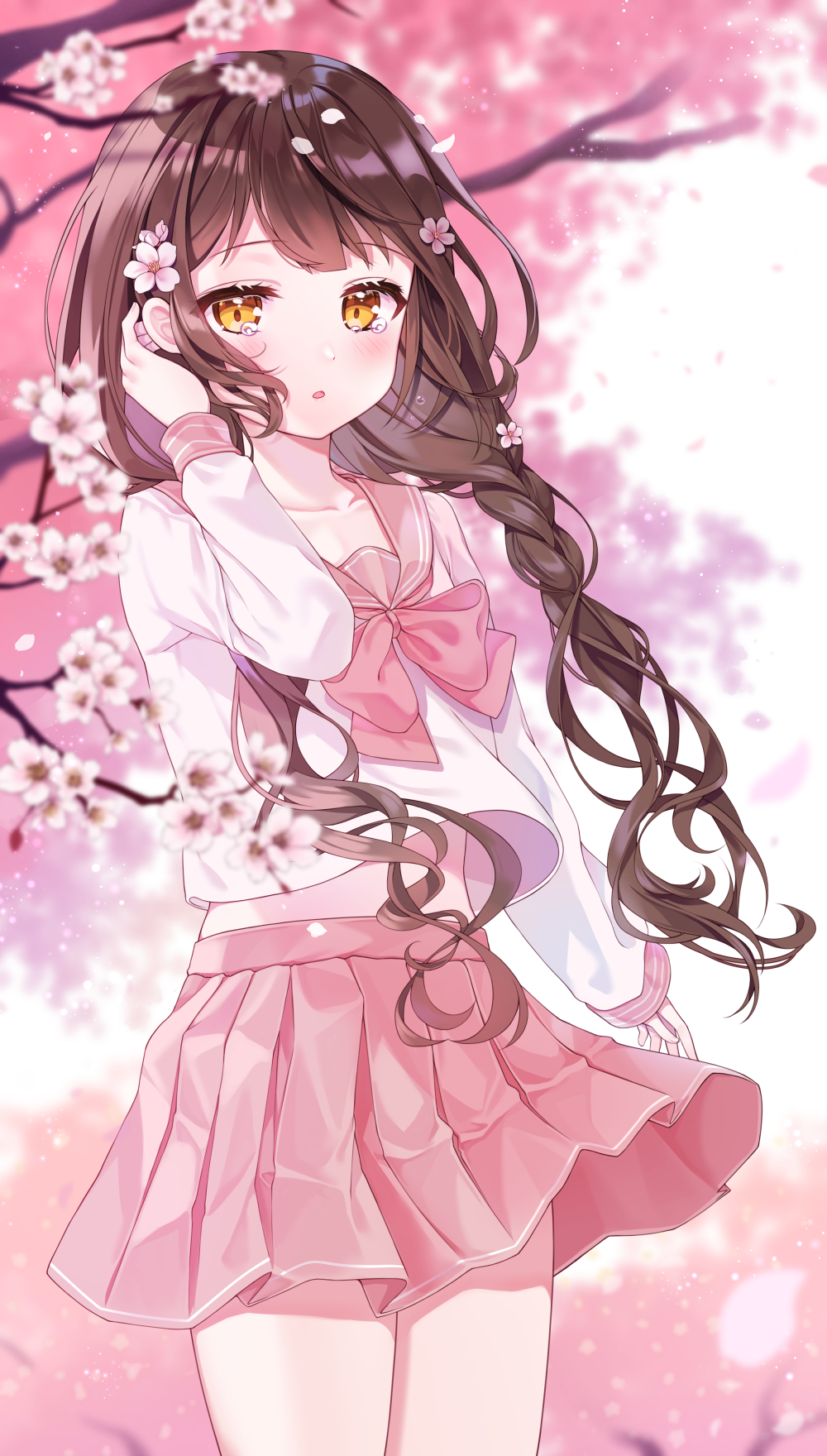 1girl :o bangs blurry blurry_background blurry_foreground blush bow brown_eyes brown_hair cherry_blossoms collarbone commentary depth_of_field eyebrows_visible_through_hair flower hand_up highres long_hair long_sleeves looking_at_viewer original parted_lips petals pink_bow pink_sailor_collar pink_skirt pleated_skirt reel37891 sailor_collar school_uniform serafuku shirt skirt solo symbol_commentary tears tree_branch very_long_hair white_flower white_shirt