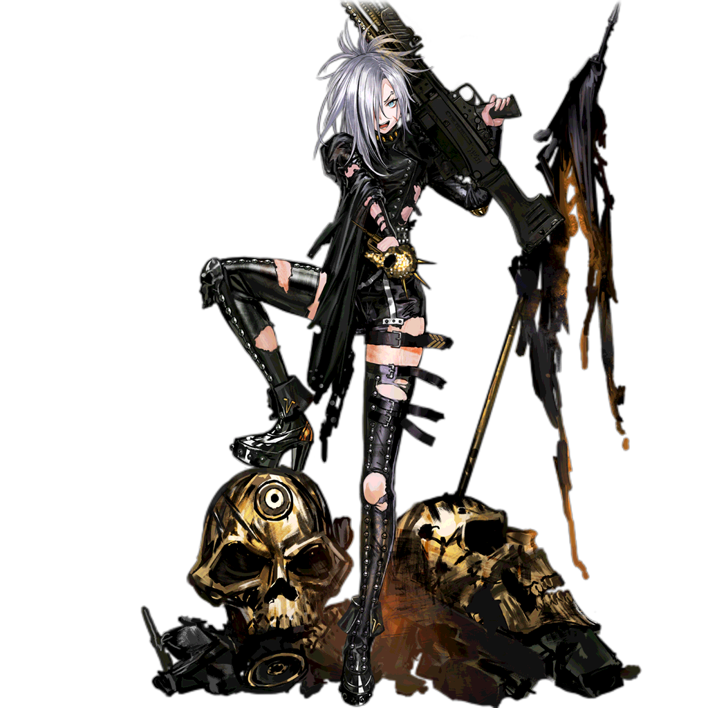 1girl alternate_costume alternate_hair_length alternate_hairstyle aqua_eyes bangs belt black_jumpsuit black_nails boots breasts closed_mouth damaged earrings eyebrow_piercing fire full_body girls_frontline gold_trim gun h&k_mg5 hair_between_eyes hair_over_one_eye head_tilt high_heel_boots high_heels holding holding_gun holding_microphone holding_weapon hoop_earrings infukun jewelry large_breasts leather_footwear leather_jumpsuit leg_up light_particles long_hair long_sleeves looking_at_viewer machine_gun makeup mg5_(girls_frontline) microphone multiple_earrings multiple_straps nail_polish official_art open_mouth piercing ponytail punk rocker-chic short_jumpsuit side_cutout sidelocks silver_hair skull solo spikes standing studded_footwear studded_jumpsuit thigh-highs thigh_boots thigh_strap torn_boots torn_clothes torn_flag torn_jumpsuit transparent_background weapon wide_sleeves wrist_straps zettai_ryouiki