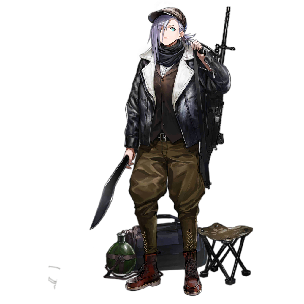 1girl alternate_costume alternate_hairstyle ankle_boots aqua_eyes bag barcode bear belt_buckle black_jacket black_scarf boots bottle brown_headwear brown_pants brown_vest buckle character_name closed_mouth coat copyright_name cover duffel_bag expressionless eyes_visible_through_hair fake_cover full_body girls_frontline gun hair_over_one_eye hat holding holding_weapon infukun jacket knife kukri leather leather_jacket legs_apart lips long_sleeves looking_at_viewer machine_gun mg5_(girls_frontline) official_art open_clothes open_jacket over_shoulder pants plaid_hat ponytail purple_hair red_footwear scarf solo standing stool transparent_background unzipped vest weapon weapon_on_back zipper