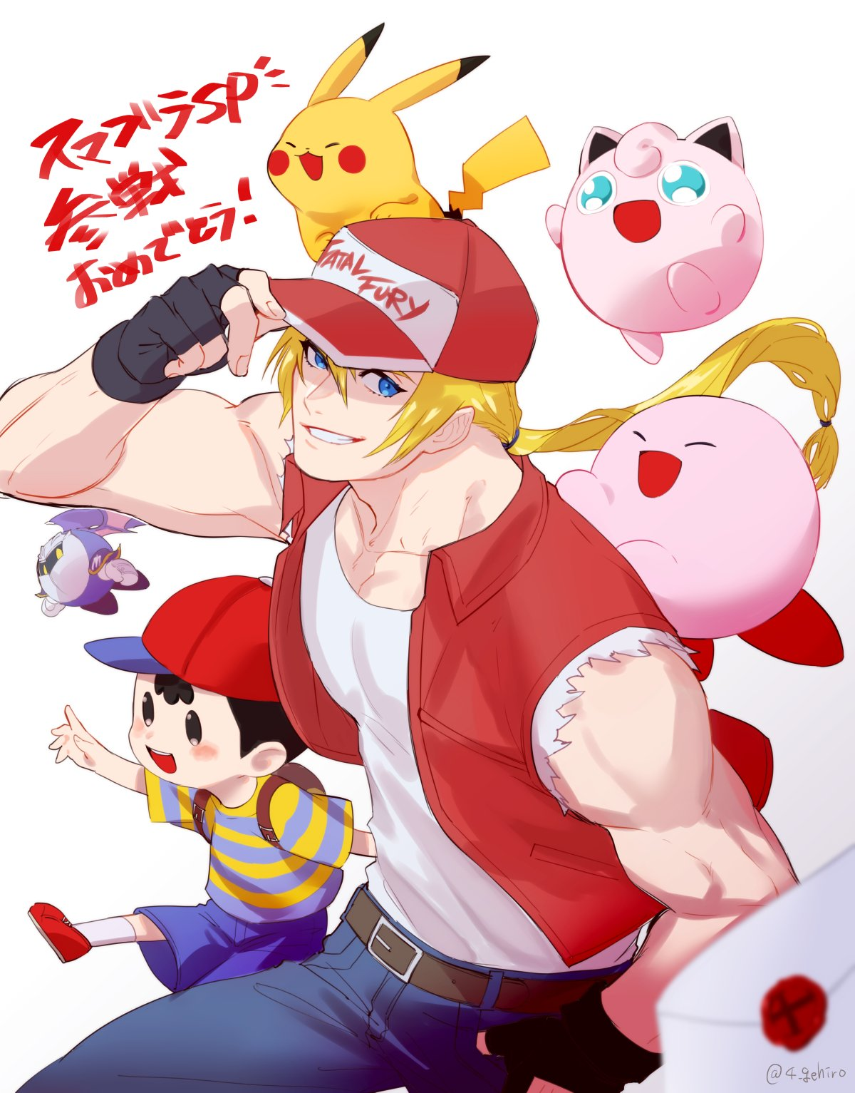 1girl 5boys adult animal ape_(company) balloon_(pokemon) baseball_cap blonde_hair blue_eyes bomber_jacket child closed_eyes creatures_(company) denim earthbound fatal_fury fingerless_gloves game_freak gen_1_pokemon gloves hal_laboratory_inc. hat highres hoshi_no_kirby human jacket jeans jigglypuff juu_satoshi kirby kirby_(series) kirby_(specie) long_hair looking_at_viewer male_focus mask meta_knight mother_(game) mother_2 mouse muscle ness nintendo olm_digital open_mouth pants pikachu pink_puff_ball pokemon pokemon_(anime) pokemon_(creature) pokemon_rgby ponytail smile snk sora_(company) super_smash_bros. super_smash_bros._ultimate super_smash_bros_64 super_smash_bros_brawl tank_top terry_bogard the_king_of_fighters white_background