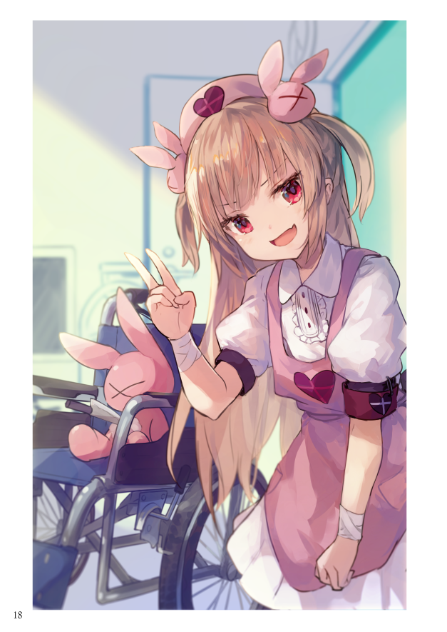 1girl apron armband bandages bangs blurry blurry_background blush bunny_hair_ornament clock door dress fang hair_ornament hat heart indoors leaning_forward light_brown_hair long_hair looking_at_viewer natori_sana nurse_cap open_mouth pink_apron pink_headwear puffy_short_sleeves puffy_sleeves red_eyes roll_okashi safety_pin sana_channel short_sleeves skin_fang smile solo stuffed_animal stuffed_bunny stuffed_toy two_side_up upper_body v virtual_youtuber wall_clock wheelchair white_dress