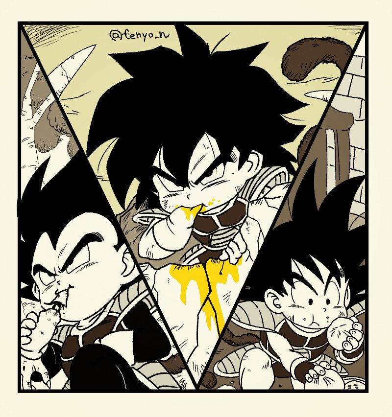 3boys :/ armor black_eyes black_hair broly_(dragon_ball_super) chewing commentary_request dragon_ball dragon_ball_minus dragon_ball_super_broly dumpling eating fenyon fingernails food food_in_mouth food_on_face gloves greyscale hand_in_mouth holding holding_food looking_at_viewer looking_down male_focus messy_hair monkey monkey_tail monochrome multiple_boys son_gokuu spiky_hair spot_color tail twitter_username v-shaped_eyebrows vegeta white_gloves yellow_theme