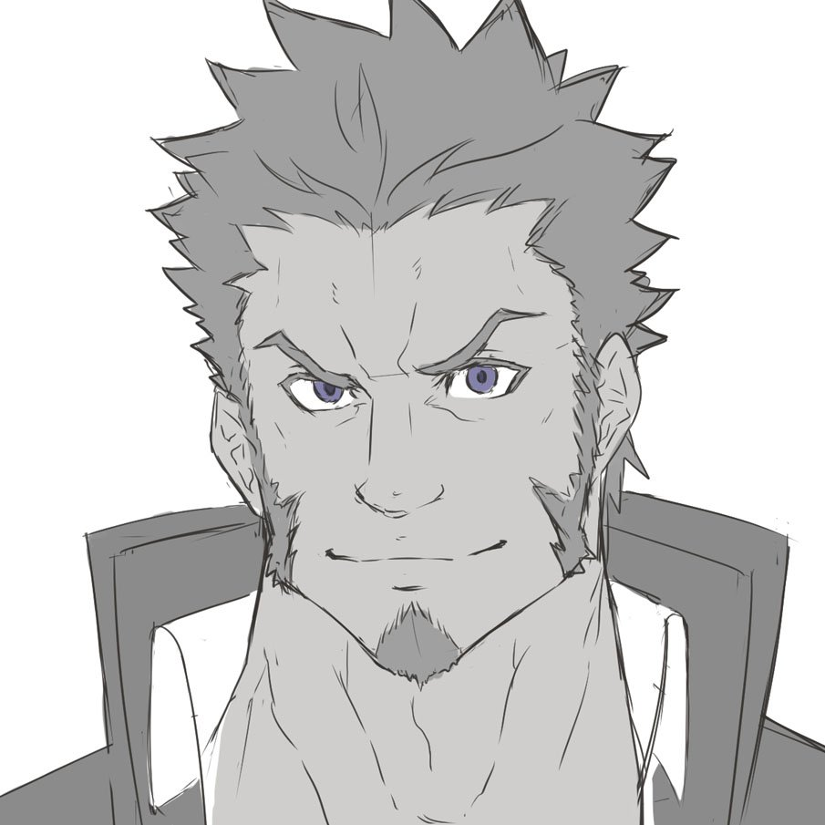 1boy beard blue_eyes brown_hair closed_mouth collared_jacket colorfulax face facial_hair fate/grand_order fate_(series) greyscale grin looking_at_viewer male_focus monochrome napoleon_bonaparte_(fate/grand_order) portrait raised_eyebrows sideburns sketch smile solo white_background