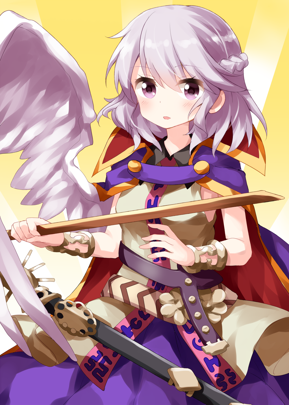 1girl bangs beige_blouse belt black_belt blouse blush bracelet braid breasts cape commentary_request cosplay cowboy_shot eyebrows_visible_through_hair feathered_wings french_braid gradient gradient_background hair_between_eyes highres holding jewelry kishin_sagume looking_at_viewer parted_lips purple_cape purple_skirt ritual_baton ruu_(tksymkw) short_hair silver_hair single_wing skirt sleeveless sleeveless_blouse small_breasts solo touhou toyosatomimi_no_miko toyosatomimi_no_miko_(cosplay) violet_eyes white_wings wings yellow_background
