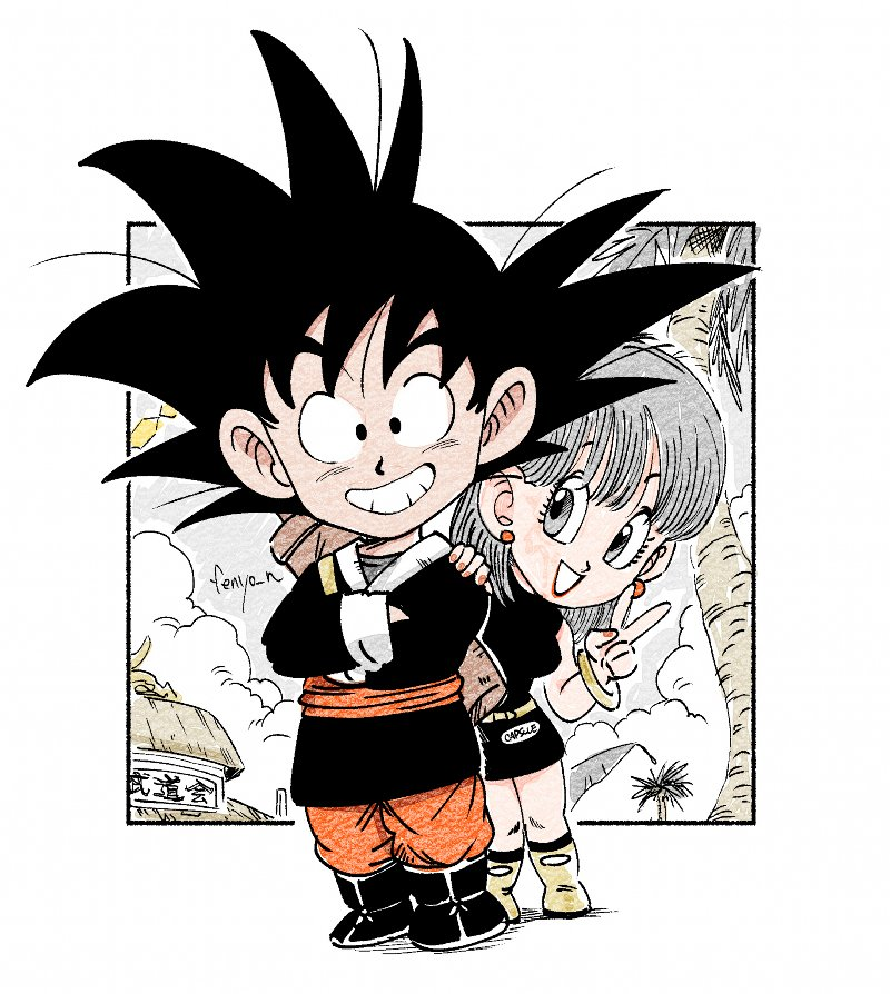 1boy 1girl :d bare_arms bare_shoulders belt black_dress black_eyes black_footwear black_hair black_shirt boots bracelet breasts building bulma capsule_corp chibi clouds cloudy_sky commentary_request crossed_arms dragon_ball dragon_ball_(classic) dress earrings eyelashes fenyon fingernails full_body grey_eyes grey_hair hair_between_eyes happy jewelry looking_at_viewer looking_away medium_breasts open_mouth outdoors palm_tree red_earrings red_lips red_nails shadow shirt short_hair sky sleeveless sleeveless_dress smile son_gokuu spiky_hair standing traditional_clothes tree twitter_username v yellow_footwear