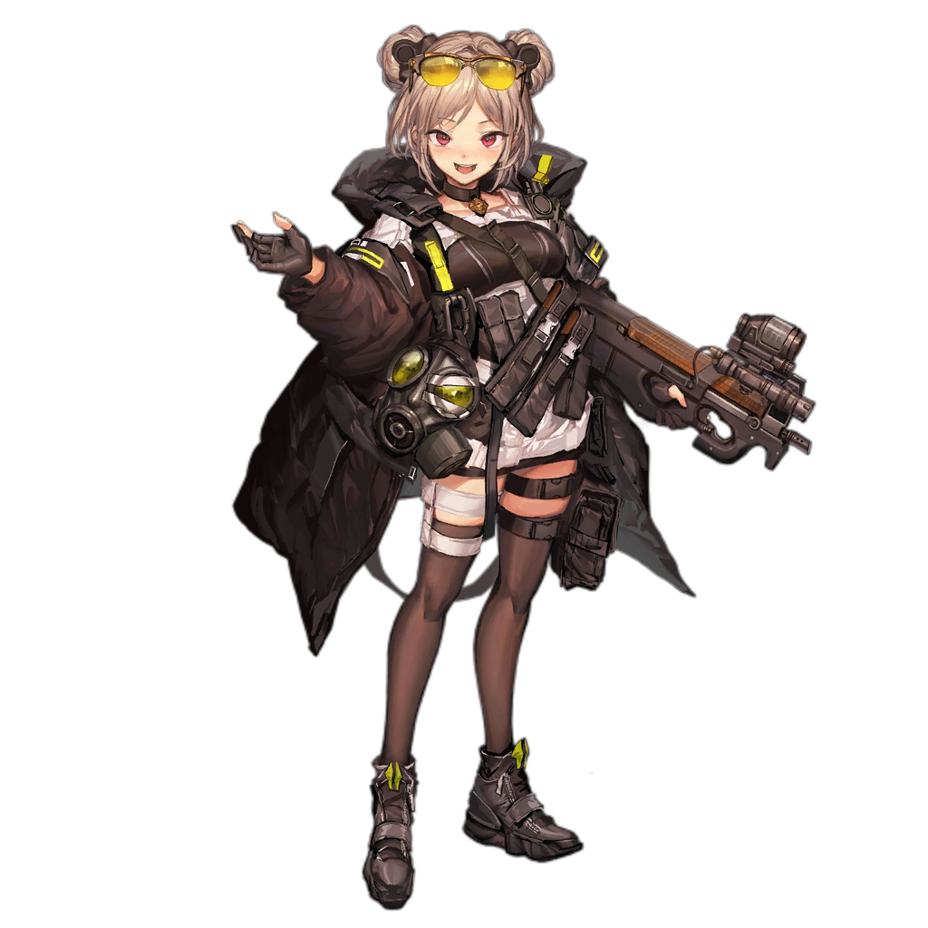 1girl bangs black_coat black_footwear black_gloves black_legwear blush boots breasts bullpup character_name choker coat double_bun eyewear_on_head full_body gas_mask girls_frontline gloves gun hair_ornament holding holding_gun holding_weapon light_brown_hair lm7_(op-center) load_bearing_equipment looking_at_viewer magazine_(weapon) official_art open_clothes open_coat open_mouth p90 p90_(girls_frontline) partly_fingerless_gloves pouch red_eyes scope short_hair sidelocks smile snap-fit_buckle solo strap strapless submachine_gun thigh-highs thigh_strap tinted_eyewear transparent_background trigger_discipline tubetop weapon zipper_footwear