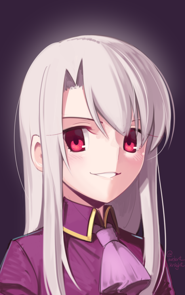 1girl bangs boa_(brianoa) collared_shirt fate/stay_night fate_(series) grin illyasviel_von_einzbern long_hair looking_at_viewer pink_neckwear portrait purple_background purple_shirt red_eyes shirt silver_hair smile solo twitter_username