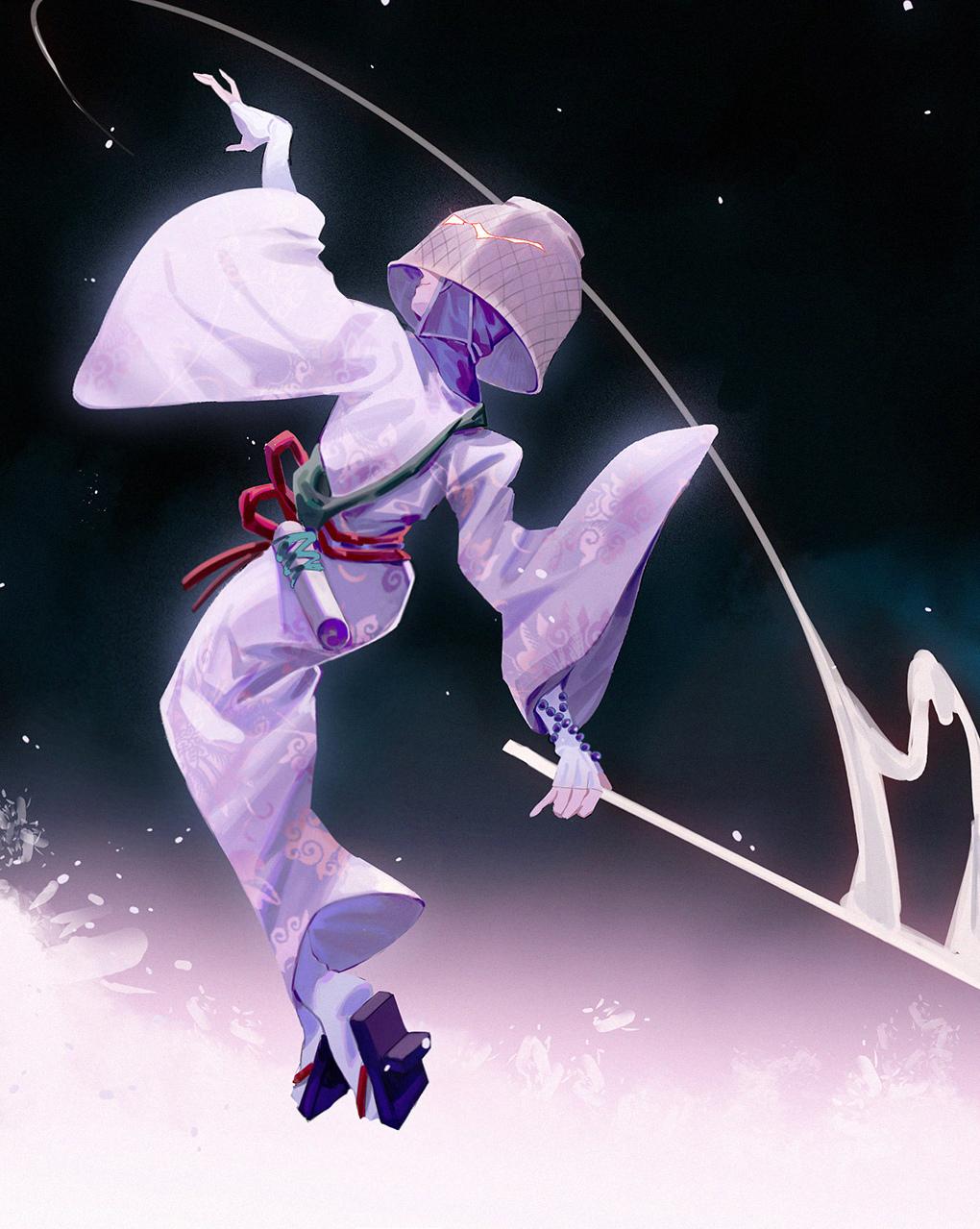 1girl 90fen5 basket covered_eyes geta highres japanese_clothes kimono o'rin_of_the_water obi sandals sash sekiro:_shadows_die_twice smile solo tabi