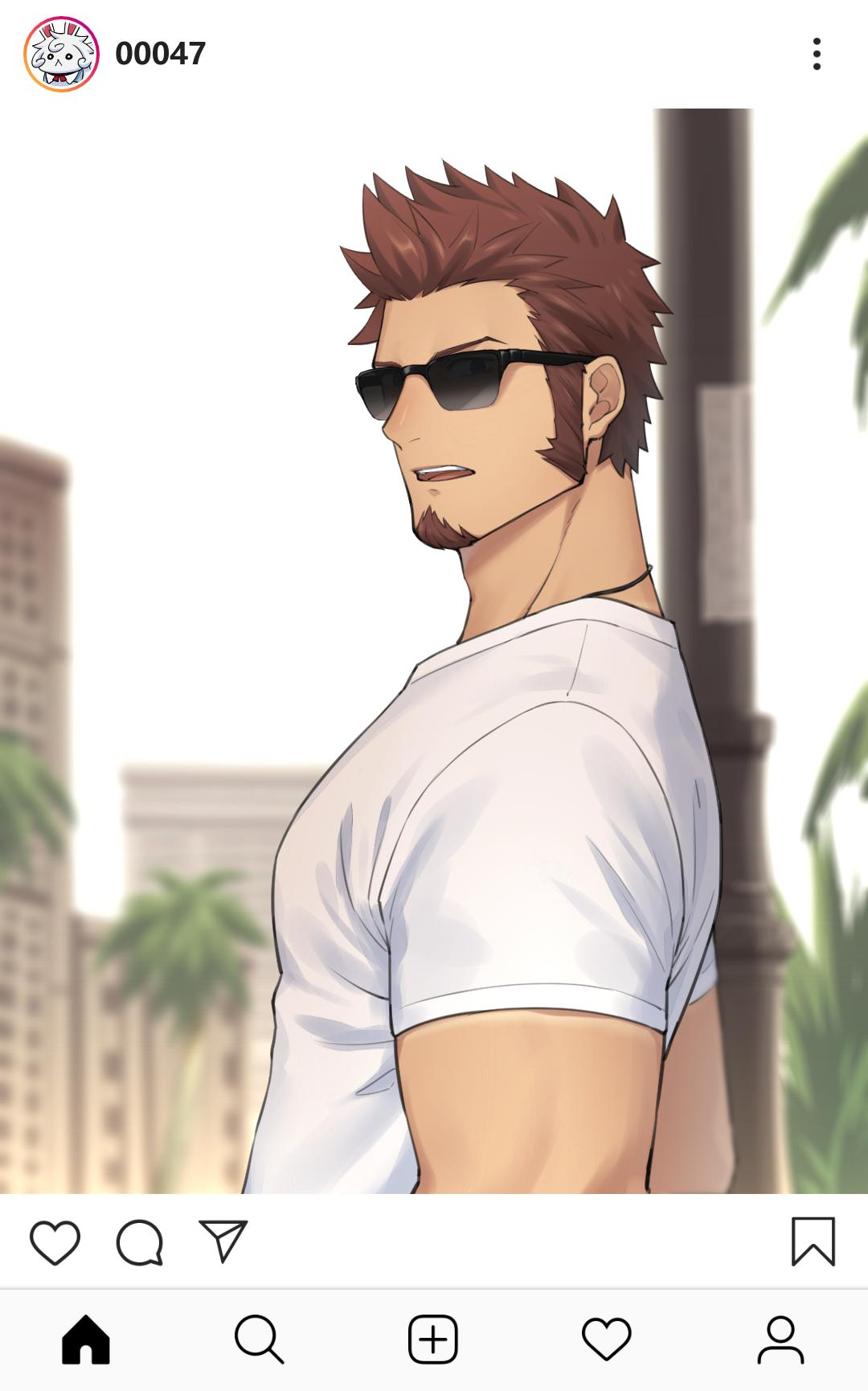 1boy 47_(479992103) beard biceps blue_eyes brown_hair chest facial_hair fate/grand_order fate_(series) glasses highres looking_at_viewer male_focus muscle napoleon_bonaparte_(fate/grand_order) open_mouth pole shirt short_sleeves sideburns simple_background solo upper_body white_shirt
