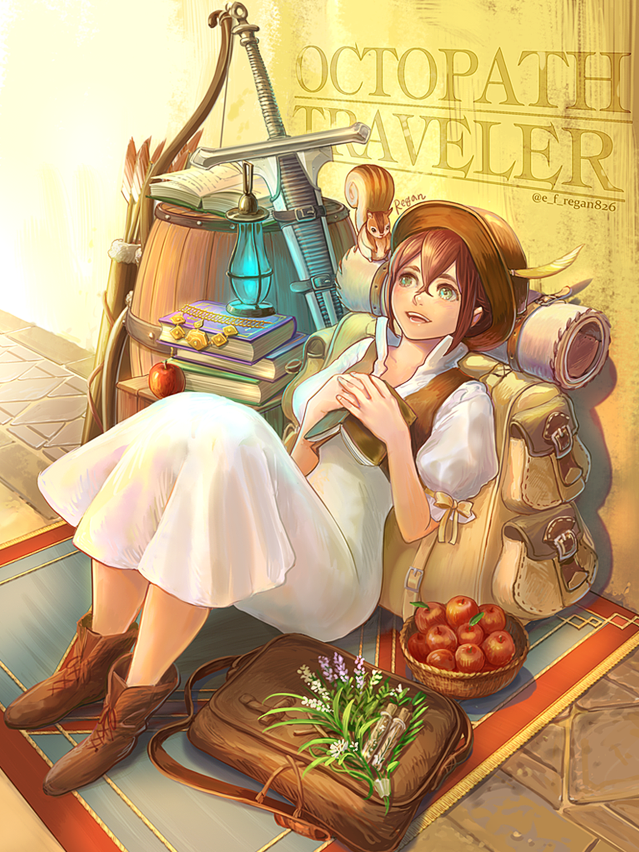1girl animal bag blush book brown_hair dress e_f_regan826 green_eyes hair_over_one_eye hat jewelry long_hair looking_at_viewer necklace octopath_traveler open_mouth short_hair simple_background smile sword tressa_(octopath_traveler) weapon