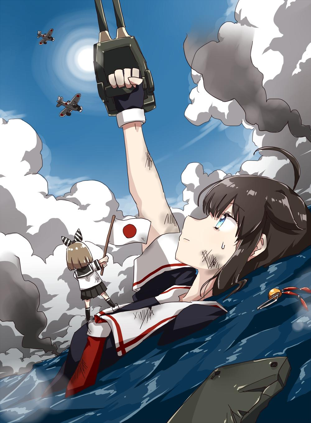 ahoge aircraft any_(lucky_denver_mint) arm_up bangs black_gloves blue_eyes breasts brown_hair eyebrows_visible_through_hair fairy_(kantai_collection) fingerless_gloves flag gloves hair_flaps hair_ornament highres injury japanese_flag kantai_collection long_hair minigirl outdoors partially_submerged red_neckwear remodel_(kantai_collection) sailor_collar school_uniform scratches serafuku shigure_(kantai_collection) short_sleeves sky smoke sweat water