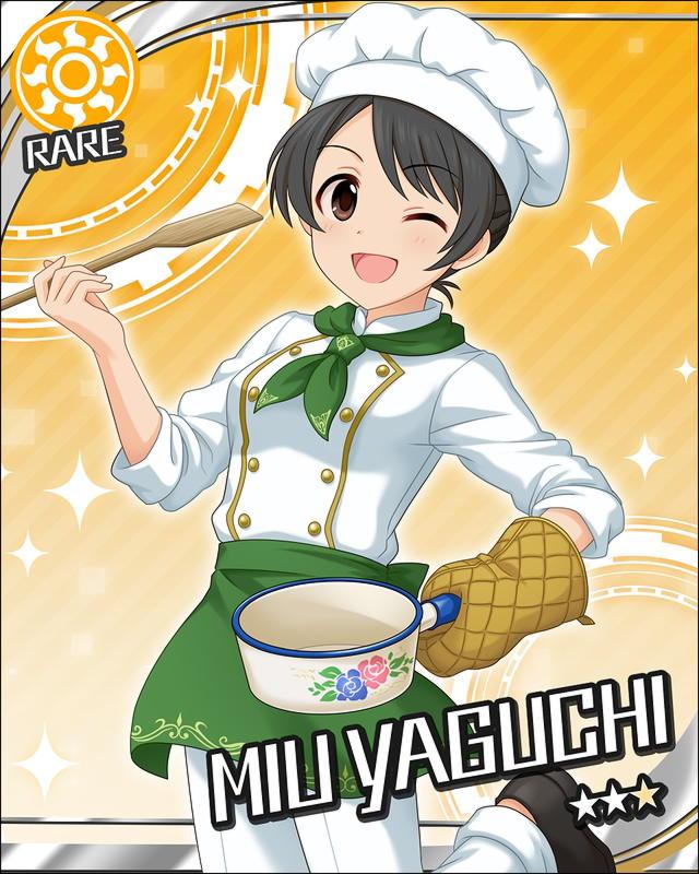 black_eyes black_hair blush character_name chef_hat dress idolmaster idolmaster_cinderella_girls long_hair smile stars wink yaguchi_miu