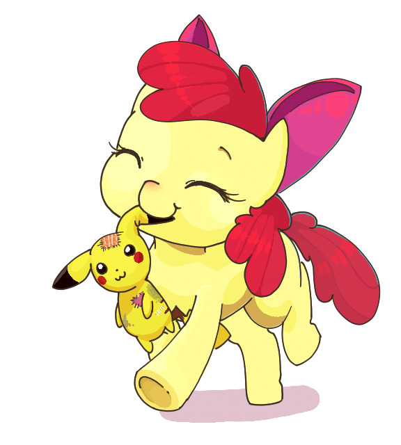 1other :3 apple_bloom bow character_doll closed_eyes creatures_(company) doll female game_freak hair_ribbon hasbro horse horse_ears horse_tail idrawweeklypony media_dhx my_little_pony my_little_pony_friendship_is_magic nintendo no_humans olm_digital ootani_ikue patch pikachu plush pokemon pokemon_(anime) pokemon_(creature) pokemon_(game) pokemon_rgby pony redhead ribbon seiyuu_connection seiyuu_joke simple_background smile stitches stuffed_animal stuffed_mouse white_background