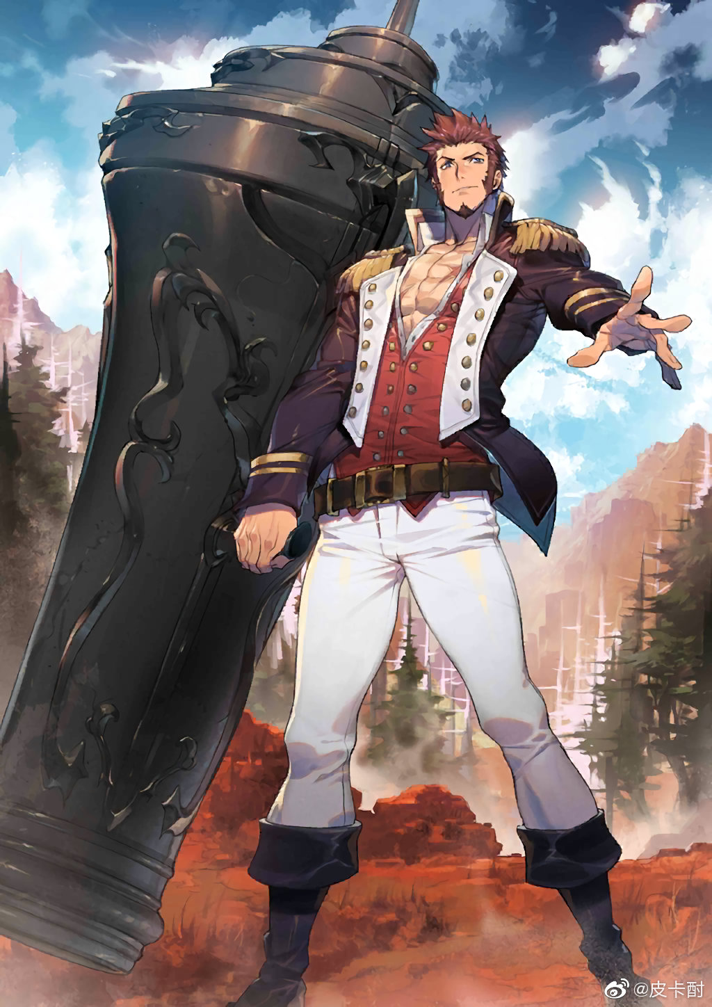 1boy bara beard belt blue_eyes boots brown_hair chest collared_jacket epaulettes facial_hair fate/grand_order fate_(series) full_body highres holding holding_weapon huge_weapon jacket long_sleeves looking_at_viewer male_focus military military_uniform mountain muscle napoleon_bonaparte_(fate/grand_order) official_art open_clothes open_jacket pants pectorals ryota-h scar sideburns sky solo standing thighs uniform weapon