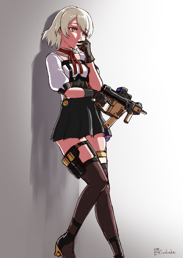 1girl against_wall artist_name bangs brown_eyes brown_gloves choker commentary cowboy_shot dress english_commentary finalcake frown girls_frontline gloves gradient gradient_background grey_hair gun hair_over_one_eye holding holding_gun holding_weapon kriss_vector multicolored multicolored_clothes multicolored_dress red_neckwear short_hair short_sleeves simple_background sketch solo standing submachine_gun vector_(girls_frontline) weapon white_background yellow_eyes