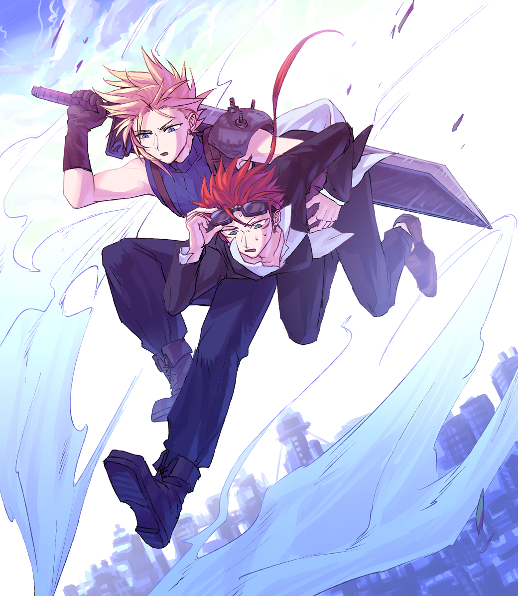 2boys blonde_hair blue_eyes boots buster_sword cloud_strife final_fantasy final_fantasy_vii full_body ganoo gloves goggles goggles_on_head green_eyes looking_down multiple_boys redhead reno sweatdrop