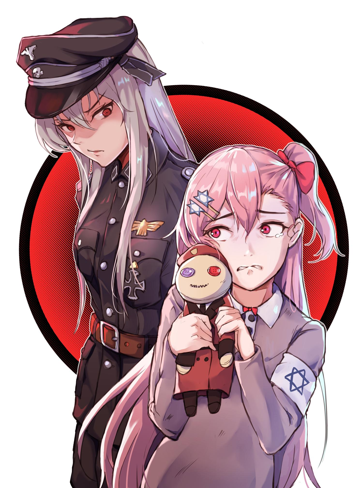 2girls armband bird commander_(girls_frontline) crying crying_with_eyes_open doll eagle girls_frontline glaring hair_ribbon hat hexagram highres iron_cross kar98k_(girls_frontline) military military_uniform multiple_girls nazi negev_(girls_frontline) niac peaked_cap pink_hair red_eyes ribbon silver_hair star_of_david tears uniform