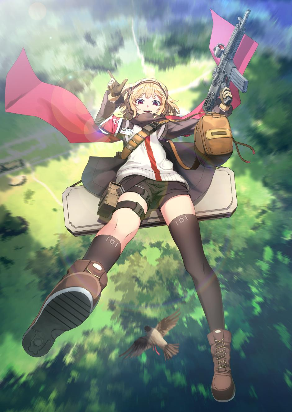 1girl armband assault_rifle asymmetrical_legwear backlighting bag bangs bird black_legwear black_shorts blonde_hair boots brown_bag brown_footwear brown_jacket cross-laced_footwear day falling finger_gun forest full_body girls_frontline gloves gun hairband highres holding holding_gun holding_weapon jacket kneehighs leg_strap looking_at_viewer nature open_clothes open_jacket open_mouth outdoors pouch radio red_eyes red_scarf rifle scarf scw_(girls_frontline) scw_(gun) short_hair short_shorts shorts shoulder_bag shoulder_strap single_kneehigh single_thighhigh smile solo thigh-highs thigh_pouch tree vikpie weapon