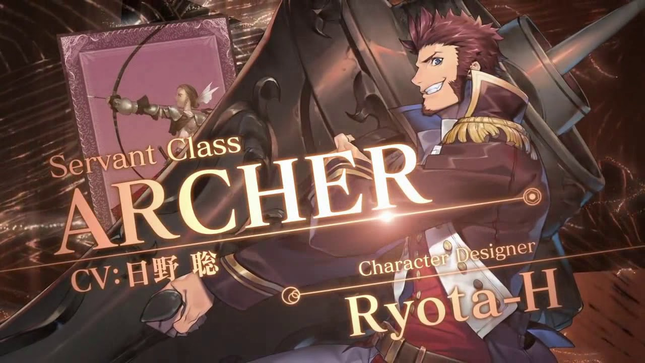 1boy ad beard blue_eyes brown_hair card epaulettes facial_hair fate/grand_order fate_(series) holding holding_weapon huge_weapon long_sleeves looking_at_viewer male_focus military military_uniform muscle napoleon_bonaparte_(fate/grand_order) official_art pants ryota-h smile solo uniform weapon