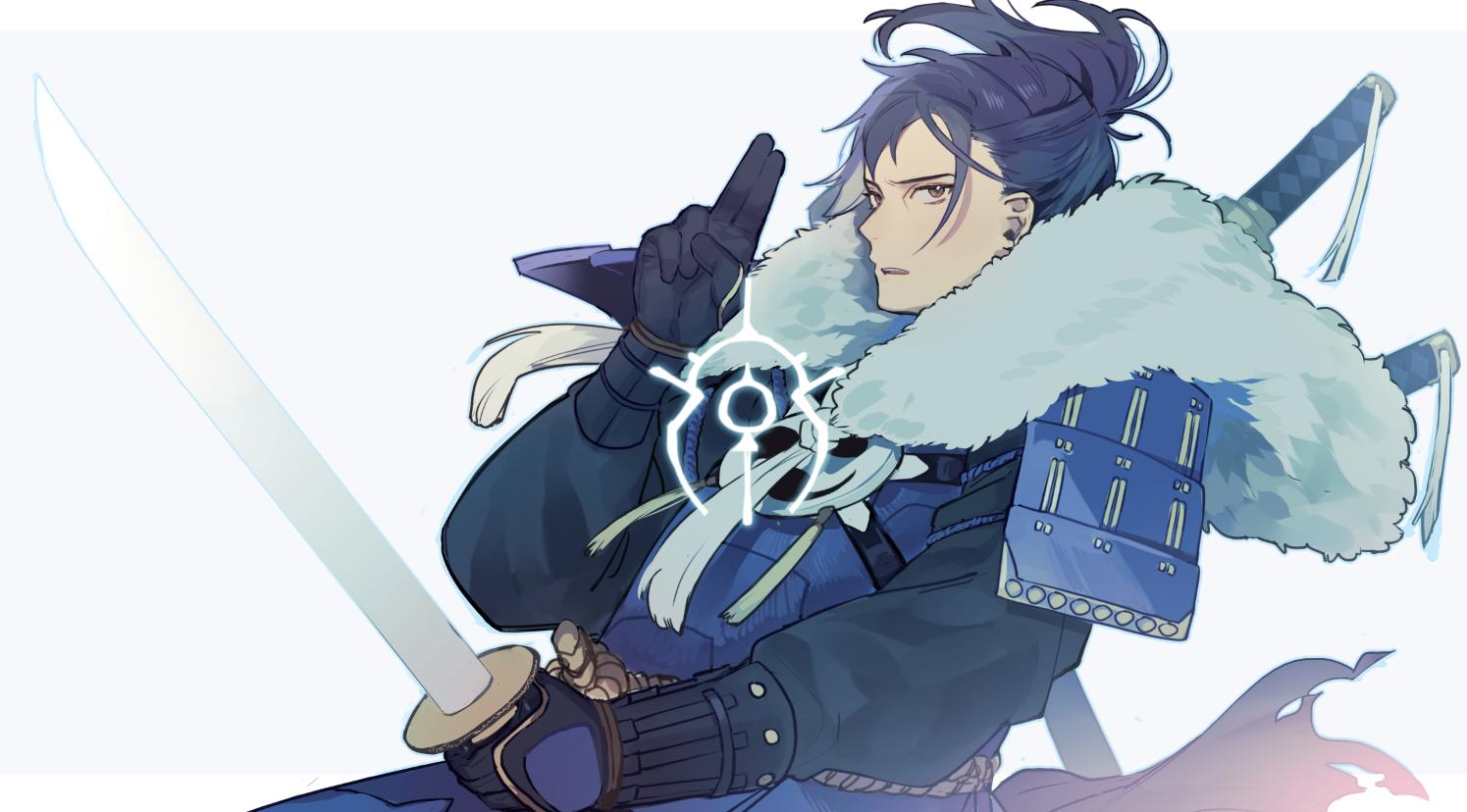 1boy alternate_costume armor belt black_hair brown_eyes esutanisan felix_hugo_fraldarius fire_emblem fire_emblem:_three_houses fur_trim gloves japanese_armor katana male_focus ponytail solo sword torn_clothes upper_body weapon white_background