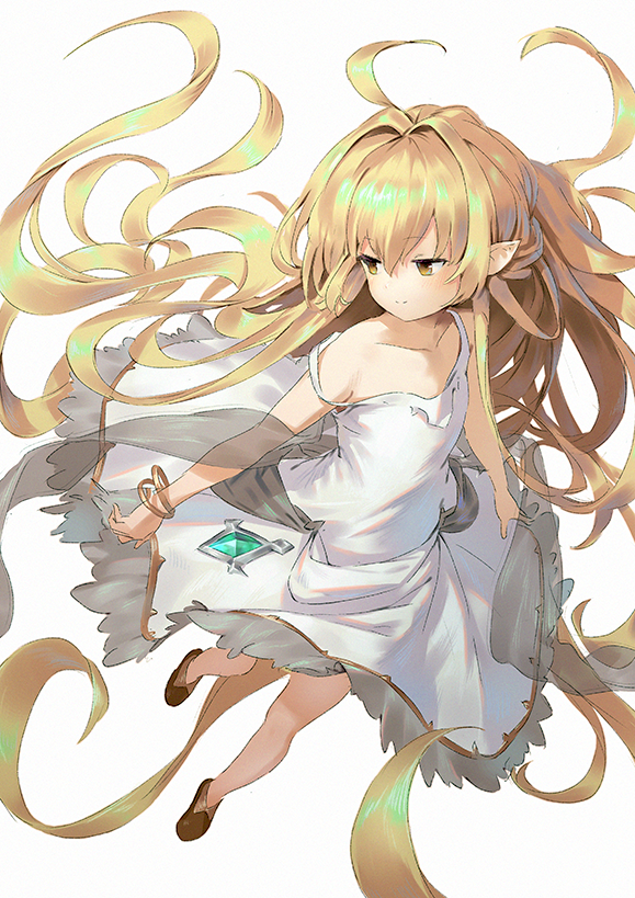 1girl ahoge bangle bangs bare_shoulders blonde_hair bracelet brown_eyes brown_footwear closed_mouth collarbone commentary_request dress eyebrows_visible_through_hair full_body granblue_fantasy hair_between_eyes hair_intakes harvin jewelry long_hair melissabelle pointy_ears see-through shawl shoes simple_background sleeveless sleeveless_dress smile solo strap_slip very_long_hair wasabi60 white_background white_dress