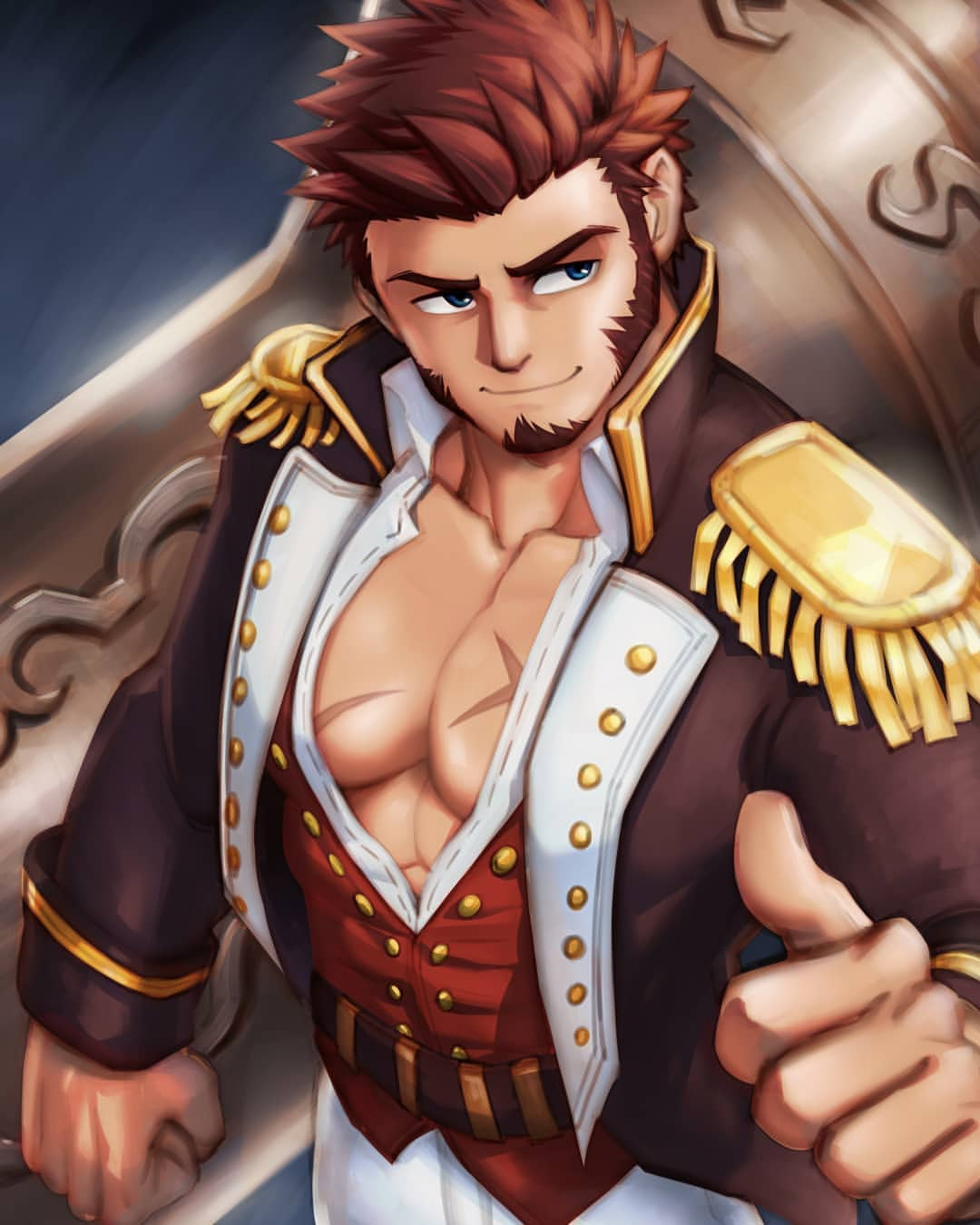 1boy abs bara beard blue_eyes brown_hair chest collared_jacket epaulettes facial_hair fate/grand_order fate_(series) highres huge_weapon long_sleeves looking_to_the_side male_focus military military_uniform mondoart muscle napoleon_bonaparte_(fate/grand_order) pants pectorals scar sideburns simple_background smile solo thumbs_up uniform weapon