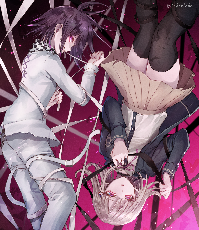 1boy 1girl :o artist_name beige_skirt black_hair black_legwear checkered checkered_scarf commentary_request danganronpa eyebrows_visible_through_hair flipped_hair hair_ornament hairclip hood hooded_jacket jacket long_sleeves looking_at_viewer nanami_chiaki new_danganronpa_v3 ouma_kokichi pink_eyes pink_ribbon pleated_skirt purple_hair ribbon scarf shirt short_hair skirt smile straitjacket super_danganronpa_2 thigh-highs violet_eyes white_shirt z-epto_(chat-noir86)