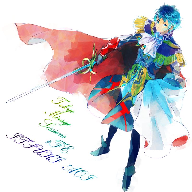 1boy aoi_itsuki armor blue_eyes blue_hair boots cape character_name copyright_name epaulettes facial_mark gen'ei_ibunroku_sharp_fe gloves hachimaru_(ediciusa) solo sword weapon white_background