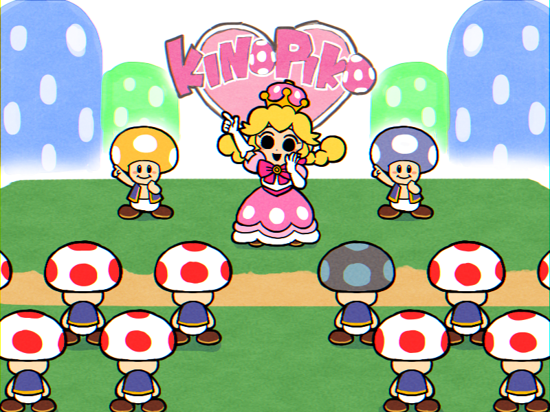 1girl 6+boys black_eyes blonde_hair bow braid brown_footwear character_name crown dress elbow_gloves ghost-pepper gloves mario_(series) multiple_boys new_super_mario_bros._u_deluxe nintendo nintendo_ead pants parody peachette pink_bow pointing puffy_short_sleeves puffy_sleeves rhythm_tengoku rhythm_tengoku_gold shoes short_sleeves sign smile solid_circle_eyes super_crown toad toadette twin_braids vest white_gloves white_pants