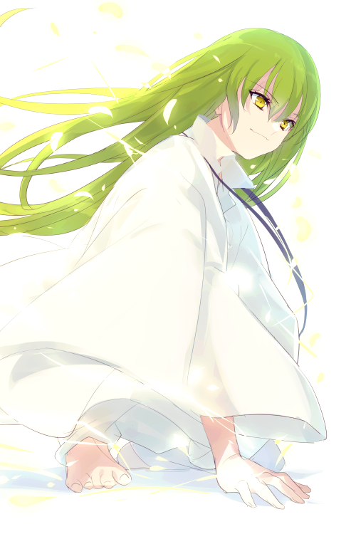 1other androgynous black_ribbon cis05 closed_mouth commentary_request enkidu_(fate/strange_fake) eyebrows_visible_through_hair fate/grand_order fate/strange_fake fate_(series) hair_between_eyes long_hair looking_away petals ribbon robe simple_background sitting smile toga white_background white_robe yellow_eyes