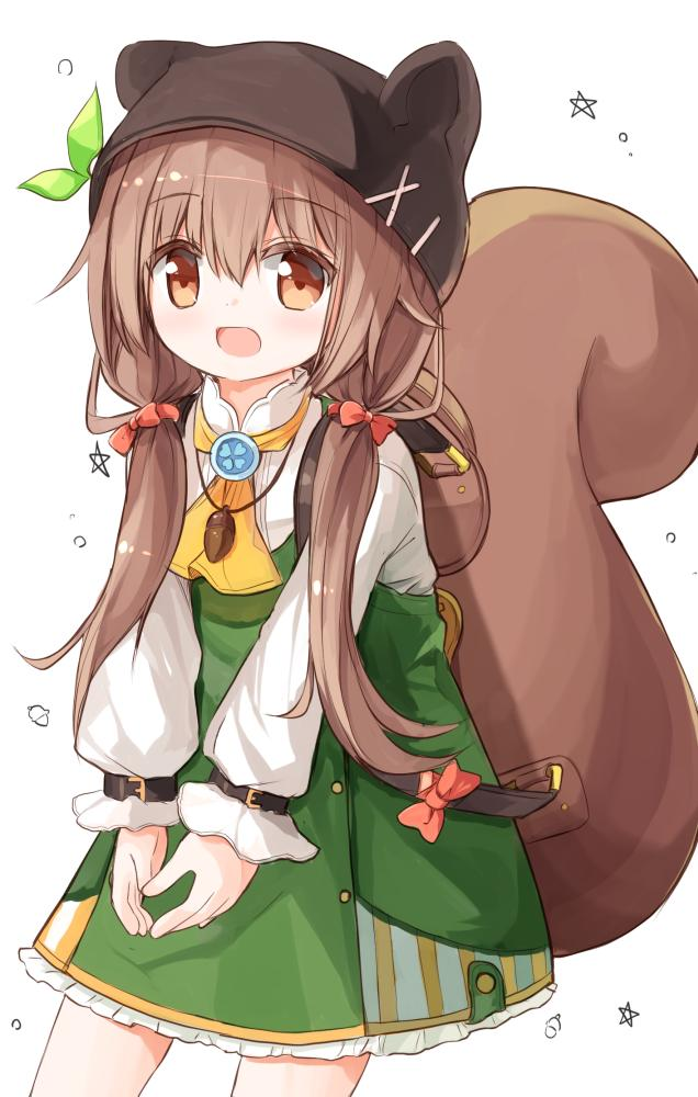 1girl :d acorn animal_ears animal_hat ascot backpack bag bangs blush bow brown_eyes brown_hair brown_headwear commentary_request cowboy_shot dress eyebrows_visible_through_hair fake_animal_ears green_dress green_ribbon hair_between_eyes hair_bow hair_ornament hairclip hat long_hair long_sleeves looking_away low_twintails open_mouth original puffy_long_sleeves puffy_sleeves red_bow ribbon shirt simple_background sleeveless sleeveless_dress sleeves_past_wrists smile solo squirrel_ears squirrel_girl squirrel_hat squirrel_tail tail twintails very_long_hair white_background white_shirt x_hair_ornament yellow_neckwear yuuhagi_(amaretto-no-natsu)