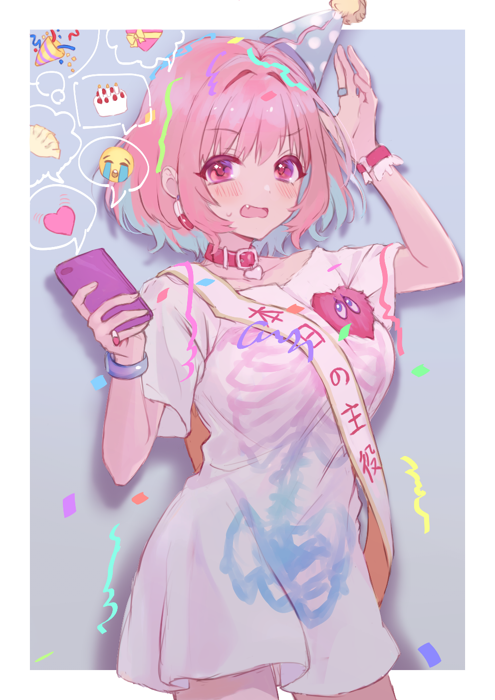 1girl anoa birthday_cake blue_hair blush box breasts burning cake candle cellphone closed_eyes collar collarbone commentary_request confetti cowboy_shot crying fang fire food gift gift_box hat heart heart-shaped_box highres holding holding_cellphone holding_phone idolmaster idolmaster_cinderella_girls large_breasts looking_at_viewer multicolored_hair open_mouth party_hat party_popper phone pill_earrings pink_hair polka_dot red_collar red_eyes sash shirt skeleton_print solo spoken_expression spoken_heart streamers streaming_tears tears thought_bubble tilted_headwear translation_request two-tone_hair white_shirt yumemi_riamu