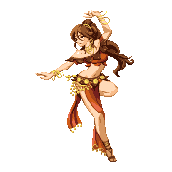 1girl arm_up bangle bracelet brown_hair commentary dancer hair_between_eyes jewelry long_hair midriff navel necklace octopath_traveler pixel_art pixelflag ponytail pose primrose_azelhart sandals simple_background standing standing_on_one_leg white_background
