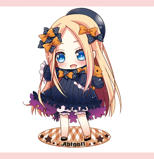 1girl :d abigail_williams_(fate/grand_order) bangs black_bow black_dress black_footwear black_headwear blonde_hair bloomers blue_eyes blush bow bug butterfly character_name chibi commentary_request dress fate/grand_order fate_(series) forehead full_body hair_bow hat insect long_hair long_sleeves object_hug open_mouth orange_bow outstretched_arm parted_bangs pink_background plaid polka_dot polka_dot_bow shoes sleeves_past_fingers sleeves_past_wrists smile solo standing star stuffed_animal stuffed_toy teddy_bear toko_(torisan_ren) two-tone_background underwear very_long_hair white_background white_bloomers