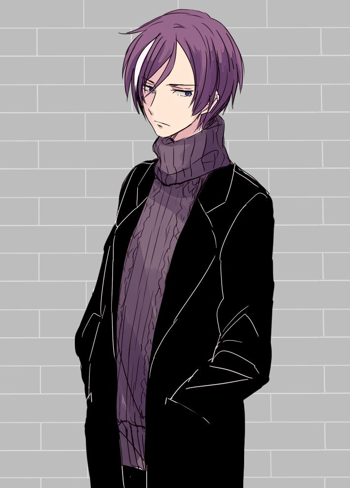 1boy alternate_costume blue_eyes coat earrings gen'ei_ibunroku_sharp_fe jewelry multicolored_hair purple_hair saichi_(meme+) solo tsurugi_yashiro two-tone_hair upper_body white_hair