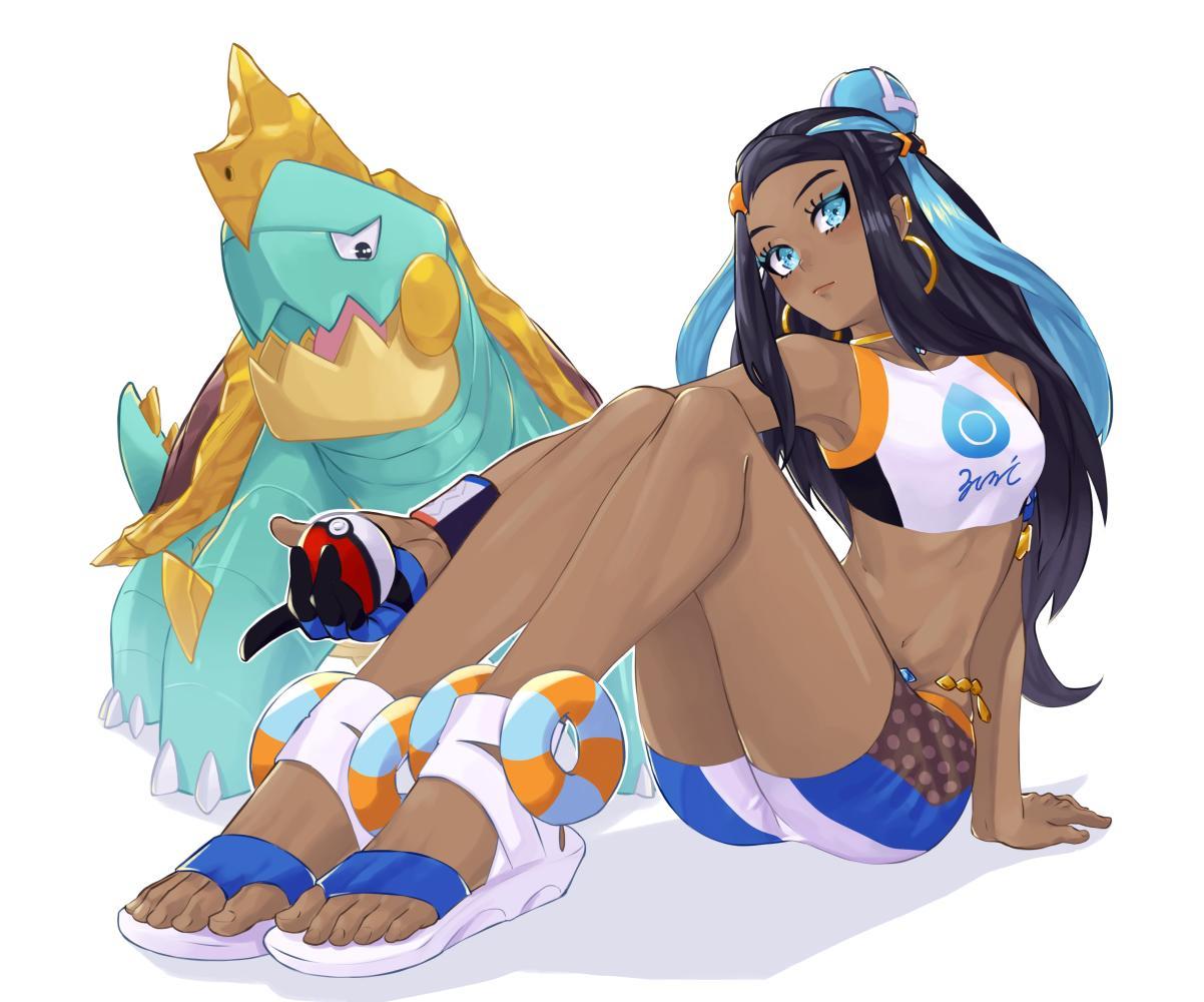 1girl belly_chain black_hair blue_eyes blue_eyeshadow dark_skin drednaw earrings feet gloves gym_leader holding holding_poke_ball hoop_earrings jewelry juu_satoshi long_hair multicolored_hair poke_ball poke_ball_(generic) pokemon pokemon_(game) pokemon_swsh rurina_(pokemon) sandals single_glove sitting swimsuit tankini two-tone_hair