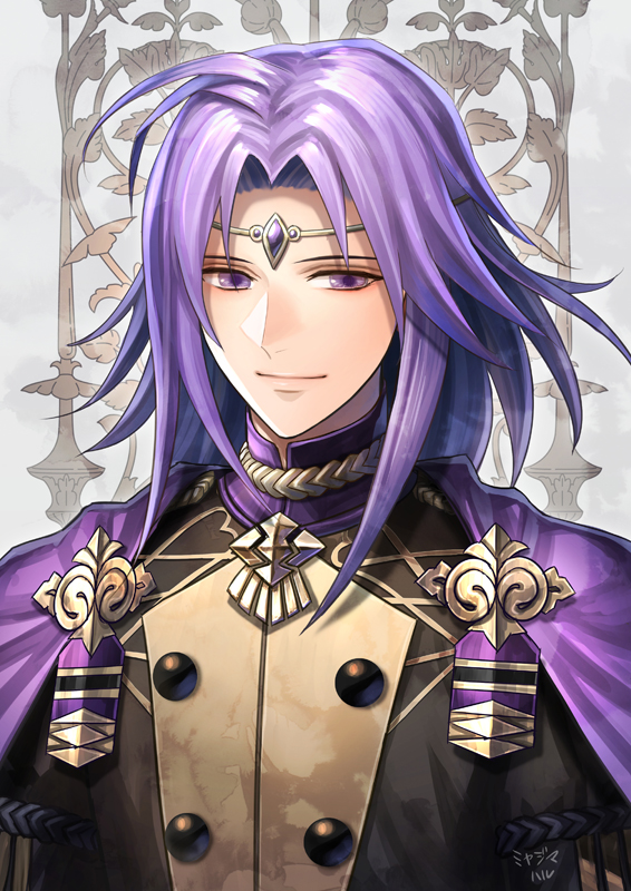 1boy alternate_costume bangs cape circlet closed_mouth commentary_request fire_emblem fire_emblem:_the_sacred_stones fire_emblem:_three_houses garreg_mach_monastery_uniform haru_(toyst) long_hair looking_at_viewer lyon_(fire_emblem) male_focus parted_bangs purple_cape purple_hair school_uniform signature smile solo upper_body