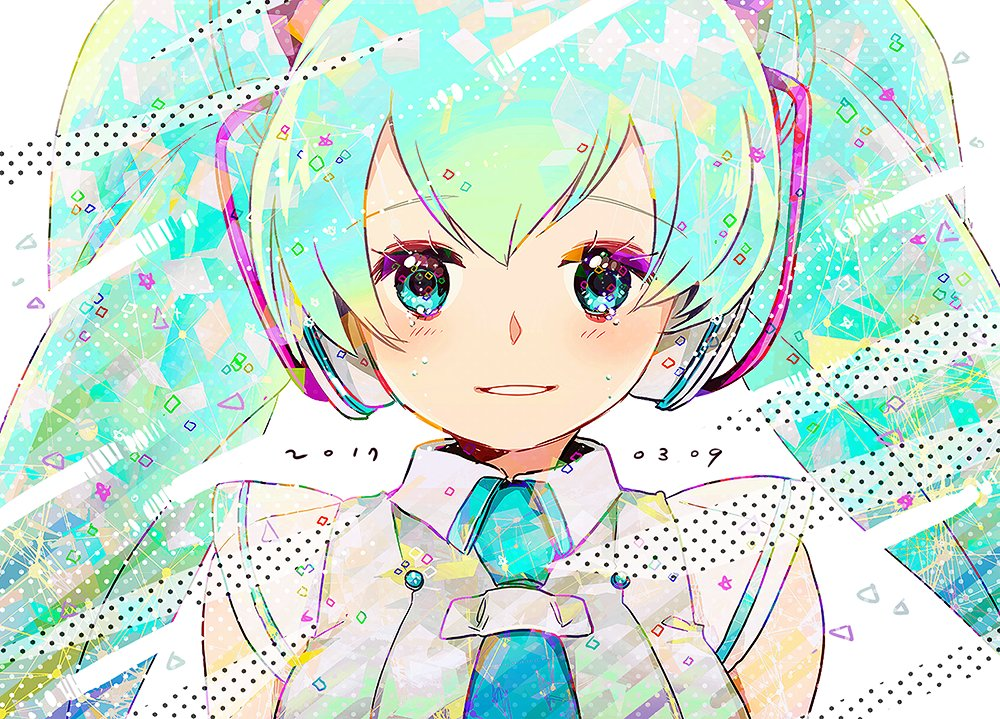 1girl 39 2017 abstract aqua_hair arms_at_sides bangs bare_shoulders blue_eyes blue_neckwear blush breasts chris4708 close-up colorful commentary_request crying crying_with_eyes_open cube dated dress eyebrows_visible_through_hair face hair_between_eyes happy hatsune_miku light_smile long_hair looking_at_viewer magical_mirai_(vocaloid) medium_breasts multicolored multicolored_background necktie parted_lips polka_dot polka_dot_background see-through see-through_silhouette see-through_sleeves shapes simple_background sleeveless sleeveless_dress smile solo star starry_background striped striped_background tears triangle twintails upper_body very_long_hair vocaloid white_background white_dress