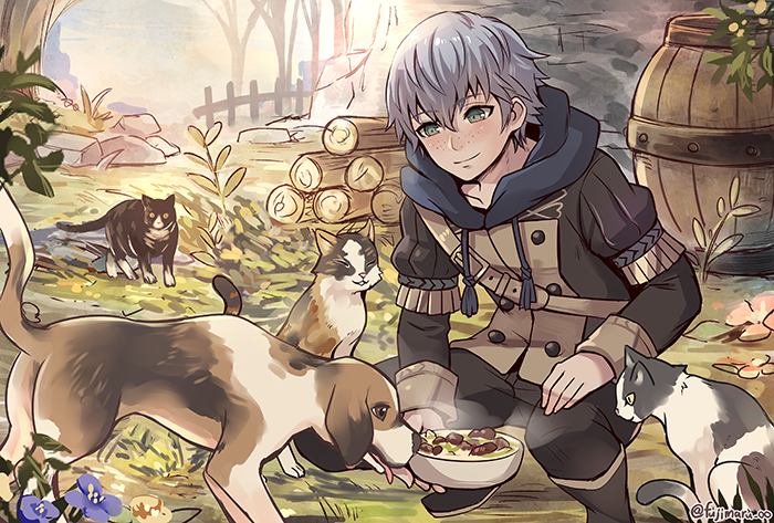 1boy artist_name ashe_duran barrel blush boots cat dog fire_emblem fire_emblem:_three_houses flower food freckles fujimaru_(green_sparrow) garreg_mach_monastery_uniform grass green_eyes grey_hair leaf solo tongue tree uniform