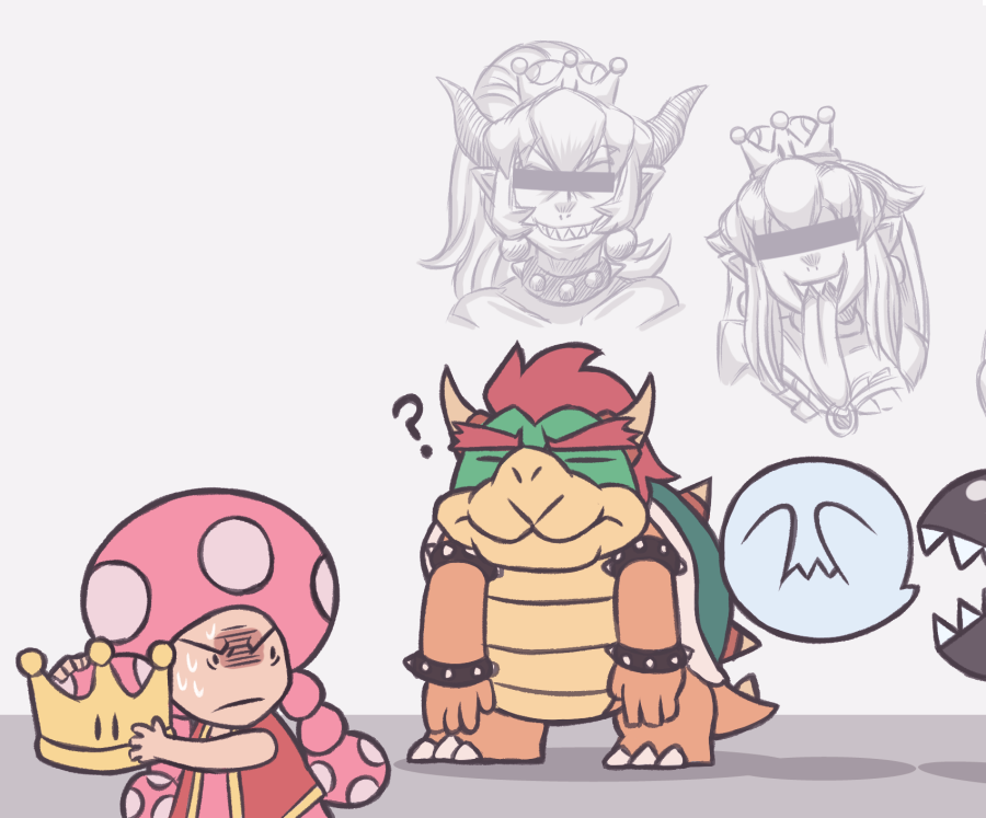 2boys 3girls ? ayyk92 bar_censor boo bowser bowsette bracelet censored chain_chomp closed_eyes collar covering_eyes dragon ghost jewelry mario_(series) monster monster_girl multiple_boys multiple_girls new_super_mario_bros._u_deluxe nintendo nintendo_ead princess_king_boo sharp_teeth spiked_armlet spiked_bracelet spiked_collar spiked_shell spikes super_crown super_mario_bros. sweat teeth toadette tongue tongue_out turtle turtle_shell what