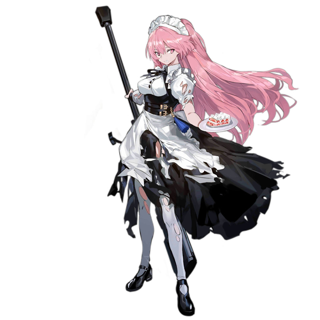 1girl alternate_costume anti-materiel_rifle apron bangs belt black_footwear black_ribbon breasts buckle buttons cake damaged dress eyebrows_visible_through_hair food framed_breasts frills girls_frontline gun holding holding_gun holding_plate holding_weapon juliet_sleeves large_breasts logo long_hair long_sleeves looking_at_viewer maid maid_headdress mary_janes multiple_belts neck_ribbon ntw-20 ntw-20_(girls_frontline) official_art pantyhose parted_lips pink_eyes pink_hair plate puffy_sleeves ran_(pixiv2957827) ribbon rifle scope shoes sidelocks skirt sniper_rifle solo standing tassel torn_clothes torn_dress torn_legwear transparent_background very_long_hair weapon white_legwear