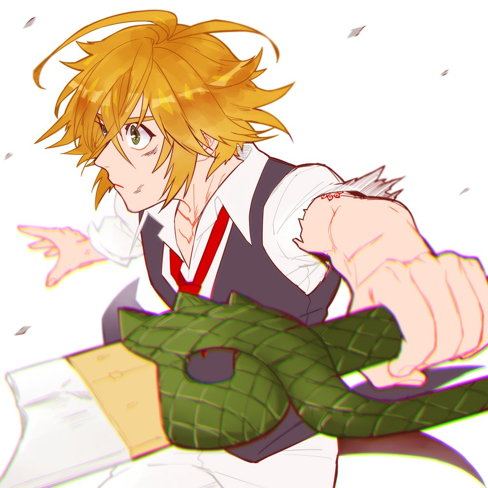1boy ahoge blonde_hair blurry broken broken_sword broken_weapon depth_of_field green_eyes juu_satoshi meliodas nanatsu_no_taizai necktie solo sword sword_hilt vest waistcoat weapon
