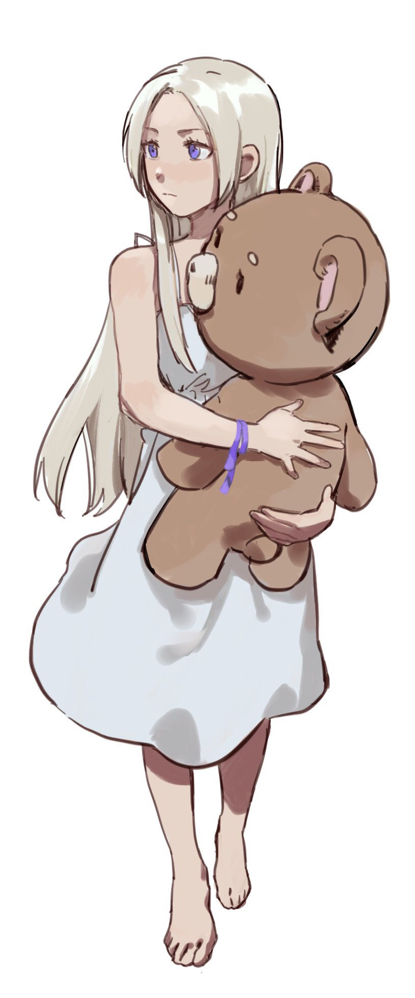1girl artist_request barefoot blonde_hair blue_eyes dress edelgard_von_hresvelg fire_emblem fire_emblem:_three_houses highres hug long_hair simple_background stuffed_animal stuffed_toy teddy_bear white_background younger