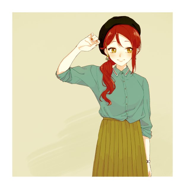 1girl azuma_(no488888) beige_background beret black_headwear collared_shirt earrings green_shirt green_skirt hair_ornament hair_over_shoulder hairpin hat jewelry long_hair love_live! love_live!_sunshine!! medium_skirt multicolored multicolored_nails pleated_skirt ponytail red_nails redhead sakurauchi_riko shirt skirt sleeves_folded_up smile solo watch watch white_nails yellow_eyes