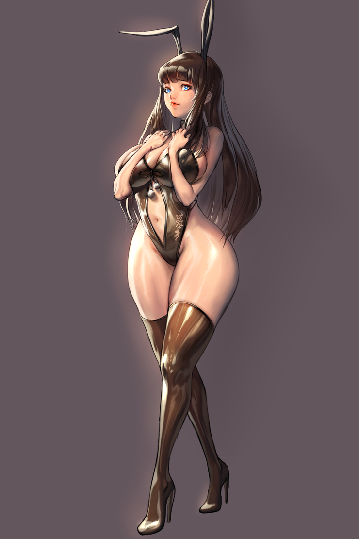 1girl animal_ears bangs black_hair black_leotard blade_&_soul blue_eyes blunt_bangs boots breast_press breasts bunny_girl bunnysuit closed_mouth curvy fake_animal_ears full_body furrowed_eyebrows grey_background hand_on_own_chest high_collar high_heel_boots high_heels highleg highleg_leotard large_breasts leotard lips lipstick long_hair looking_at_viewer makeup mole mole_under_mouth navel navel_cutout original rabbit_ears sidelocks simple_background sleeveless smile solo standing thick_thighs thigh-highs thigh_boots thighs zig90