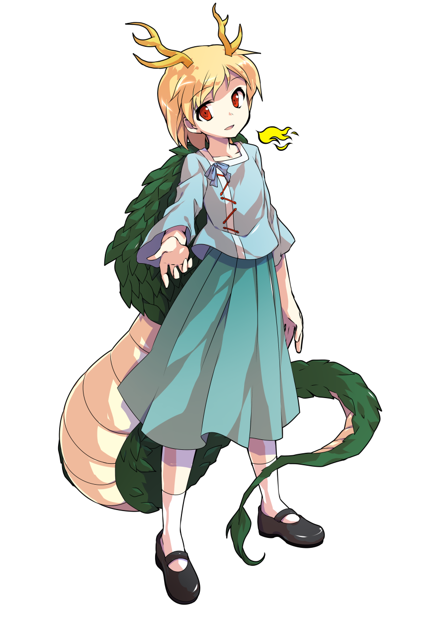 1girl alphes_(style) antlers aqua_skirt arm_at_side black_footwear blonde_hair blue_shirt collarbone commentary_request dairi dragon_girl dragon_tail eyebrows_visible_through_hair full_body highres kicchou_yachie looking_at_viewer mary_janes outstretched_arm parody reaching_out red_eyes shirt shoes short_hair skirt smile socks solo standing style_parody tachi-e tail touhou transparent_background white_legwear
