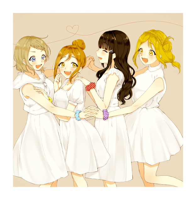 4girls :d ^_^ alternate_hairstyle azuma_(no488888) black_hair blonde_hair blue_eyes blue_scrunchie blush braid brown_background brown_hair closed_eyes crown_braid dress from_side grey_hair hair_bun hair_ornament hair_rings hair_up hairclip hand_on_another's_shoulder heart heart_of_string holding_hands kunikida_hanamaru kurosawa_dia long_hair love_live! love_live!_sunshine!! multiple_girls ohara_mari open_mouth polka_dot polka_dot_scrunchie purple_scrunchie red_scrunchie sailor_collar scrunchie short_hair short_sleeves sleeveless sleeveless_dress smile v-shaped_eyebrows watanabe_you white_dress wrist_scrunchie yellow_eyes yellow_scrunchie
